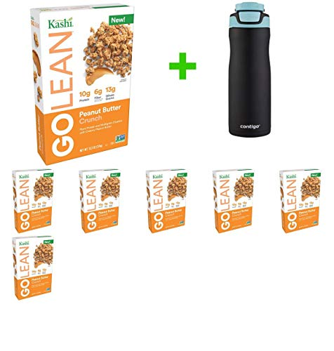 Kashi Go Lean Peanut Butter Crunch Clusters Breakfast Cereal - 13.2oz(7 PACK)+ Contigo Autoseal Chill Stainless Steel Hydration Bottle 24oz(Combo Offer) (Peanut Kashi Butter)