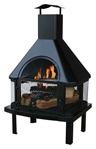 Uniflame Firehouse with Chimney, Black (Portable Outdoor Fireplace)