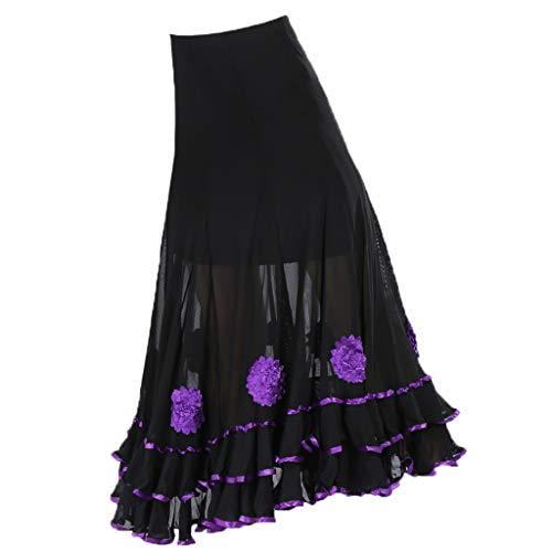Fenteer Womens Flamenco Ballroom Dance Full Swing Mesh Skirt - Purple, as described