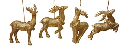 Gold Glittered Deer Christmas Ornaments product image