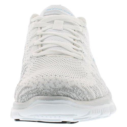 Skechers Women's Flex Appeal Instant Hit Lace-Up Fashion Sneaker White Silv 9.5 M US