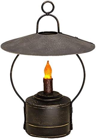 CWI Gifts 8 Rustic Hanging Nook Lantern in Distressed Black Metal, 8