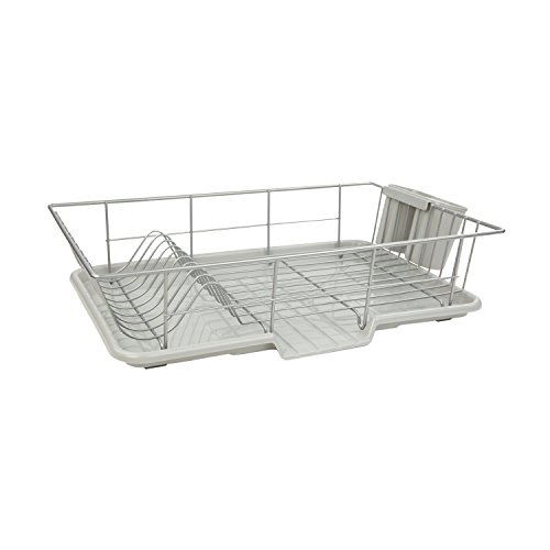 Home Basics 3-Piece Dish Drainer Set, Silver, 19-Inch by  12-Inch by 5-Inch