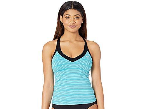 Nike Women's 6:1 Heather Stripe V-Neck Tankini Light Blue Fury Medium