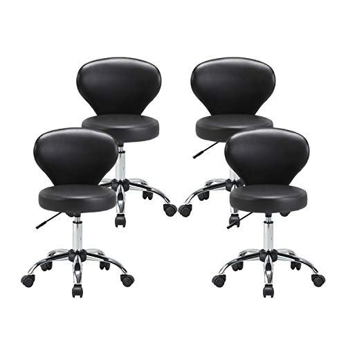 KLASIKA Rolling Swivel Salon Stool Chair with Back Support Adjustable Hydraulic for Office Massage Facial Spa Medical Drafting Tattoo Beauty Barber 4 Pack