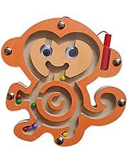Wilk Historieta de Madera la Forma Animal de Juguete Junta de Laberinto con Perlas magnéticas y guiar la Pluma, los ni?os de Juguete Puzzle Laberinto (Mono)