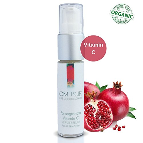 OM PUR Pomegranate Vitamin C Serum for Face - Organic Topical Facial Repair Serum with Hyaluronic Acid, Vitamin E, Essential Oils for Alive & Ageless Skin - Anti Aging, Anti Wrinkle, Natural Skin Care