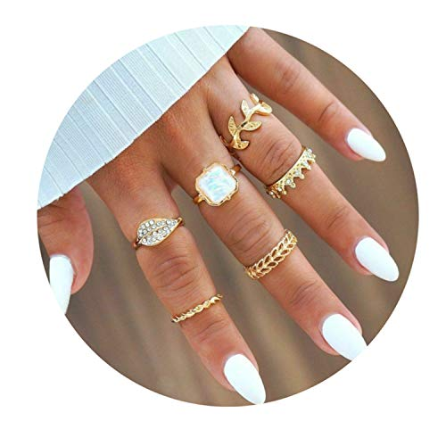 Multi-Piece Set Bohemia Women Rings Crystal Metal Moon Crown Party Jewely Ring 6