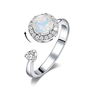 CDE Rotating Birthstone Rings for Girls Womens Birthday Mothers Day Jewelry Gifts Embellished with Crystals from Swarovski Ring 18K White/Rose Gold Plated Adjustable Size 7-9 for Girlfriend Wife