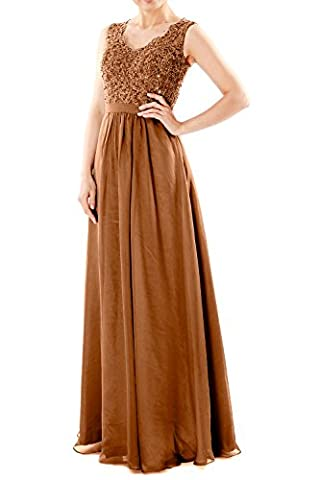 MACloth Women V Neck Lace Chiffon Long Prom Dresses Formal Party Evening Gown (12, Brown) - Couture Formal Dresses