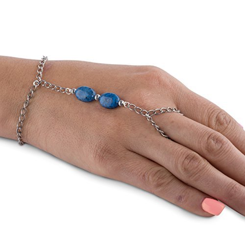 American West Sterling Silver Denim Lapis Chain Bracelet and Ring ()