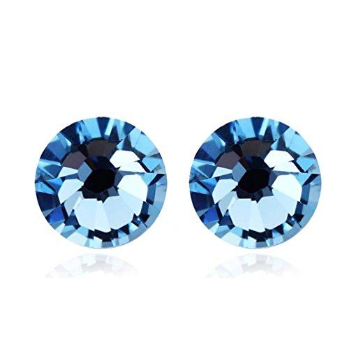FENDINA Stainless Steel Stud Earrings Round Cut Created Aquamarine Earrings Studs 2 Colors
