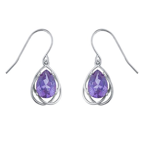 (Created Alexandrite Pear Teardrop Design Dangle Earrings .925 Sterling Silver Rhodium Finish)