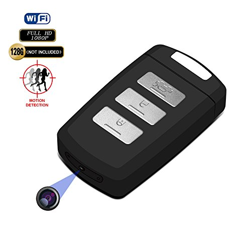 Hidden Camera Keychain WiFi DVR Recorder Fuvision 1080P Mini Portable Keyfob IP Camera with Motion Activated and Schedule Recording Built-in Rechargeable Battery Car Key Camera[Video Only]