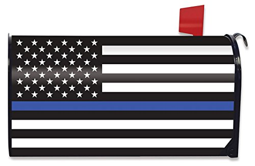 American Flag Mailbox - Briarwood Lane Thin Blue Line Magnetic Mailbox Cover Police Patriotic Standard