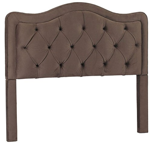 Leffler Home 18000-09-13-01 Night Party Chocolate Allure Button Tufted Headboard, King, Dark Brown