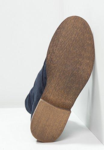 Anna Field Botas de Mujer al Tobillo - Botines de Mujer de Cuero con Cordones en Negro, Azul o Verde - Botines de Cuero de Imitación de Piel de Ante - Botas de Gamuza Cortas y Planas Azul