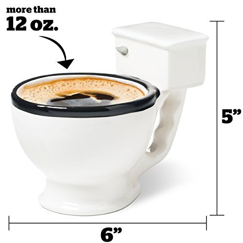 BigMouth Inc. The Original Toilet Mug - Hilarious 12 oz Ceramic Coffee Cup in the Shape of a Toilet - Perfect for Home or Office, Makes a Great Gag Gift for All Ages
