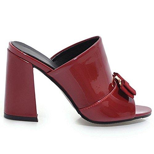 Sin Mulas Zanpa Mujer Wine Sandalias Cordones Mode Red Heels 7EqIWF6RZq