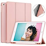 Ztotop Newest iPad 9.7 Inch 2018 Case with Pencil Holder - Lightweight Soft TPU Back Cover and Trifold Stand with Auto Sleep/Wake, Protective for iPad 6th Generation(A1893/A1954), Rose Gold