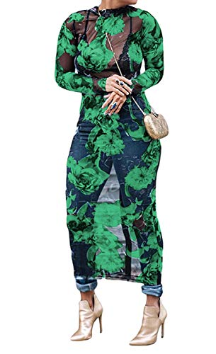 - Yeshire Women's Sexy See Through Mesh Floral Print Casual Maxi Dress Cover-up Medium Green