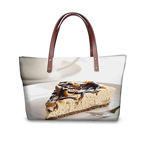 Custom Handbag Tote Shopping Bags caramel and chocolate cheesecake with a cup of coffee Printing Tote Bag With Zipper For Women Size:19.2