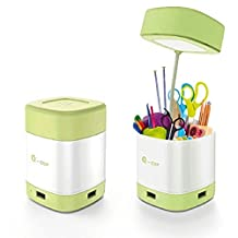 6 in 1 Novel Q Cup LED Desk Lamp 3 Port Hub Pen Holder Card Reader, Wrcibo New Crossover design Touch Sensor 3 Level Dimmer Table Lamp Night Light 3 USB 2.0 Port Micro SD Card Reader (Lemon Green)