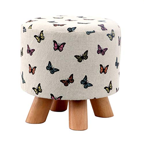 Linen Farbric Footstool Ottomans Bench Rest Step Stool Soft Detachable Upholstered Feet Protection Design | Beech Short 4-Leg Stands (Color : Butterfly)