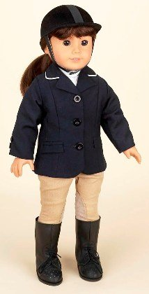 Navy Blue Riding Outfit. Complete Equestrian Outift. Fits 18″ Dolls like American Girl®, Baby & Kids Zone