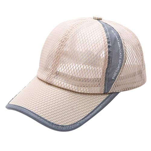 HTDBKDBK Summer Breathable Mesh Baseball Cap Men Women Sport Hats Khaki