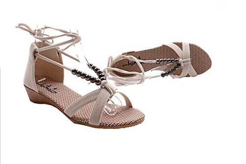 2014 Frauen Sandalen Schuhe überqueren Schnürung Perlen flache Freizeitschuhe Beige