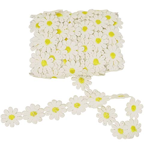 Honbay 5 Yards Decorating Lace Embroidered Trim Ribbons for Sewing or Craft Decoration (Daisy)