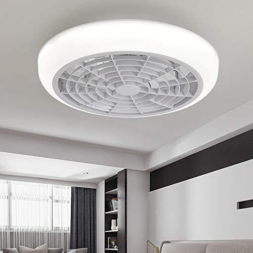 Litfad Acrylic Flushmount Ceiling Light Circle Led Kids Bedroom Dimmable Ceiling Fan Light With 6 Clear Blades Modern Led Ceiling Lamp With Remote Adjustable Speed For Hotel Living Room White Amazon Com