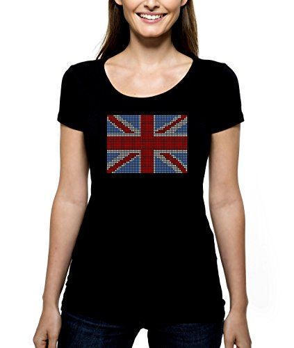 British Flag RHINESTONE T-Shirt Shirt Tee Bling - United Kingdom Great Britain England Northern Ireland Union Jack - Pick Shirt Style - Scoop Neck V-Neck Crew (Scoop Union)