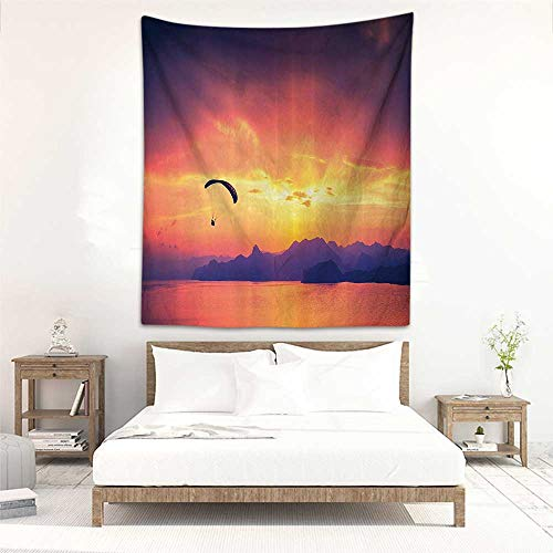 (Godves Decorative Tapestry Sports Decor Paragliding Silhouette Over Sea at Sunset with Reflection of Sun Light Epic Nature Scenery Occlusion Cloth Painting 57