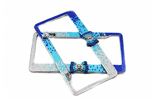 (Purely Handmade Fashion Gradient Blue Bowtie Bling Crystal Car License Plate Frame Cute Waterproof Rhinestone SUV License Plate Holder Stainless Steel Truck Plate Frame(2 Frames))