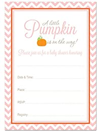 24 Little Pumpkin Chevron Baby Shower Fill-in invitations (Pink) BOBEBE Online Baby Store From New York to Miami and Los Angeles