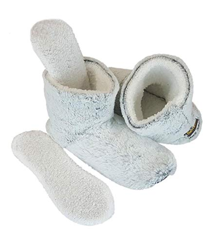 Microwavable Slippers - Snookiz Cozy Heated Booties Slippers for Women with Microwaveable LavaTech Inside Non- Electric Heating Pad Inserts for Cold Feet, Size 6/7- Faux Fur (Light Grey)