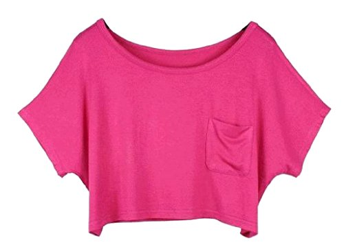 Abetteric Women Sexy Casual Solid Colored Dolman Crop Top Short Sleeve Tops Rose Red One (Colored Crop)