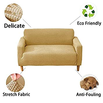 Beige, Love seat Spandex Textured Fabric Homehaven Loveseat Slipcovers,Stretch Sofa 2 Seater Cover Furniture Protector
