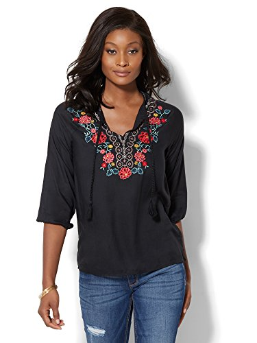 New York & Co. Women's Floral- Peasant Blouse Large Black (Black Embroidered Blouse)