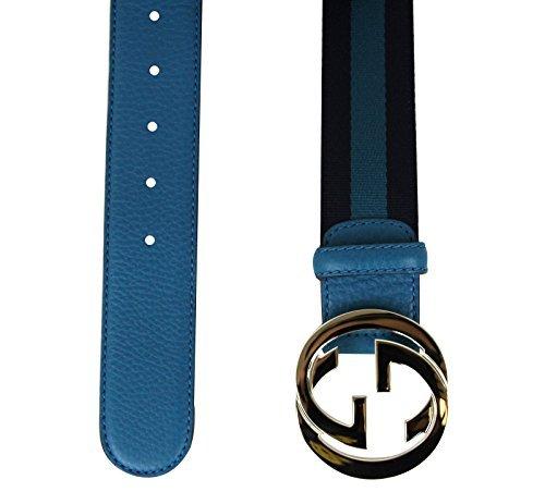 Gucci Women's Blue Webbing Interlocking G Buckle Belt 114876 4174 (90 / 36) by Gucci (Image #2)