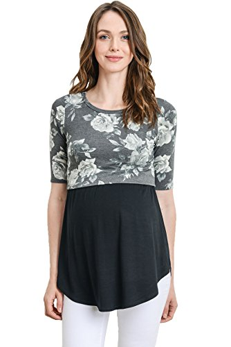 Hello MIZ Women's Maternity Nursing Tunic Top with Empire Waist (Black/Black, Small)