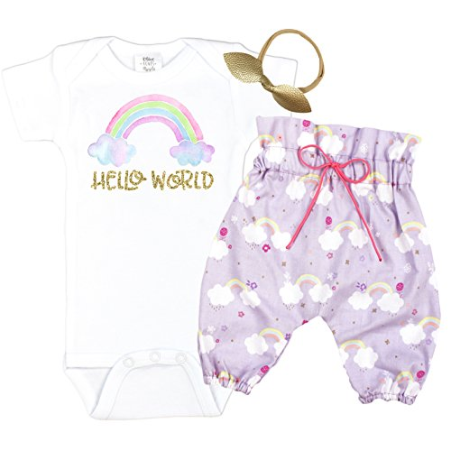 Hello World Baby Take Home Outfit Rainbow High Waisted Pants Coming Home Outift Baby Girl by Olive Loves Apple (Image #3)