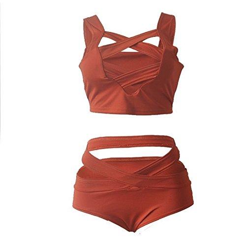 Fashion bañador de mujer tirantes Cruz pecho dos pieza Monokini Beachwear naranja