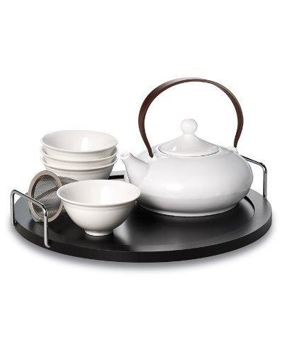 Teekolonie Akuno Designer Tea Set With Four Tea Cups, Strainer And Porcelain Teapot by Teekolonie