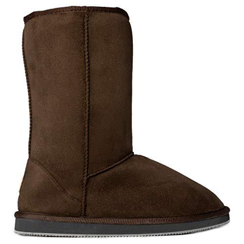 Winter FASHION Calf Boots RF Chocolate Fur Lined ROOM Women's Suede Hidden Shearling Vegan Pocket OF Mid 7qq1xHEa