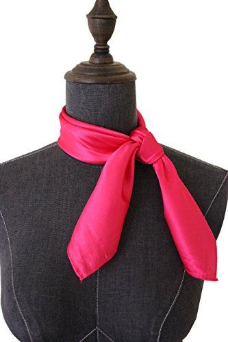 - Silk square scarf pure color head scarf blend neckerchief (fushcia)