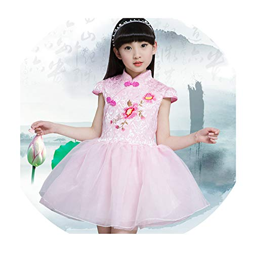 Elegant Qipao Girls Dress Cheongsam Children Clothing Vintage Flower Kids Clothes Baby Girl Summer Dresses Teenager,Style Seventeen,11