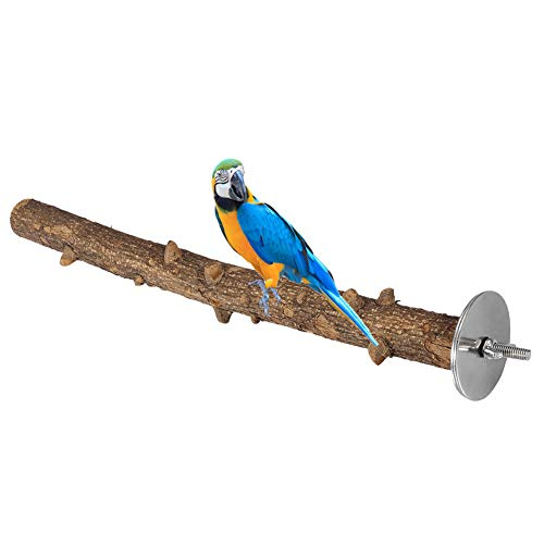 Pssopp Prickly Ash Wood Perch Stand Bird Wooden Chew Bite Toy Bird Paw Grinding Perch Cage Hanging Training Toy for Parakeets Budgies Cockatiels Conures(335cm)